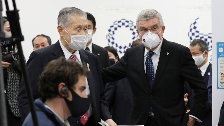 Yoshiro Mori (L) is a former Japanese prime minister and head of the Tokyo organising committee