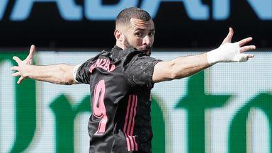 Karim Benzema celebrates his opener against Celta