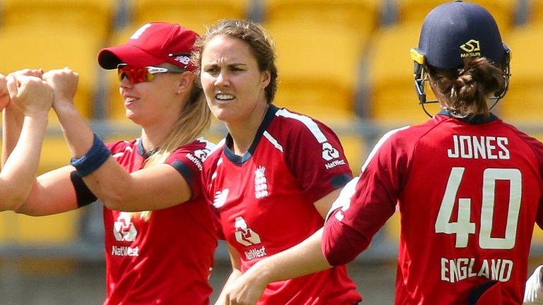 England dismissed New Zealand for 96 in 19.4 overs in the first T20 international in Wellington