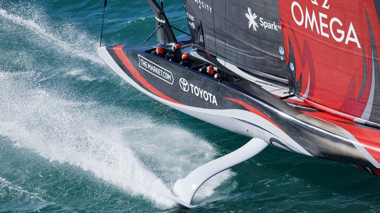 Emirates Team New Zealand and Luna Rossa Prada Pirelli had an anxious wait before taking to the water (Image Credit - ACE 36 | Studio Borlenghi)