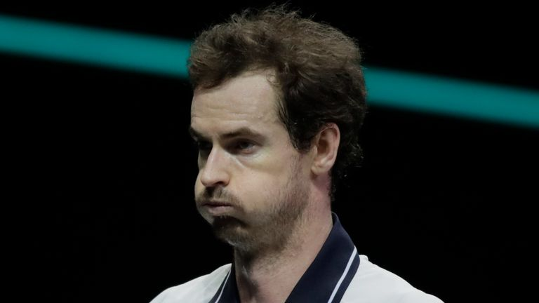 Britain's Andy Murray puffs his cheeks after missing a return against Russia's Andrey Rublev. (AP Photo/Peter Dejong)