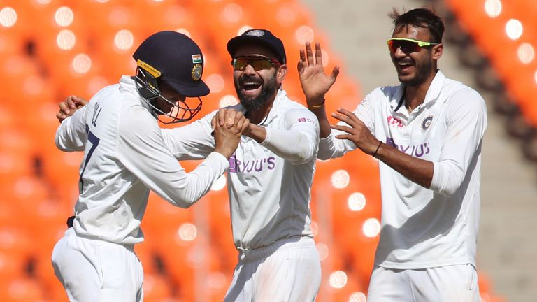 Axar Patel celebrates after one of his four wickets on the first day in Ahmedabad (Associated Press)