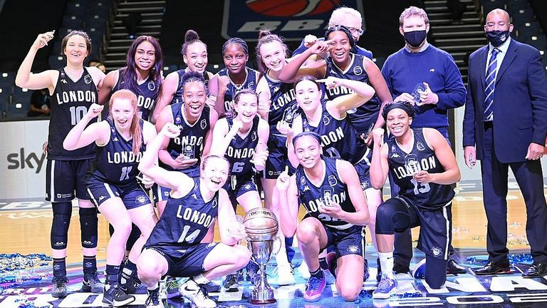 The BA London Lions celebrate being the 2021 WBBL Trophy champions