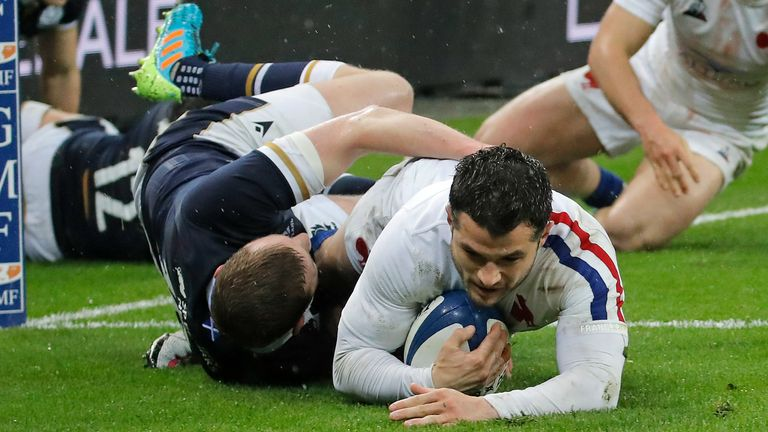 Russell was sent off for illegally fending off France full-back Brice Dulin