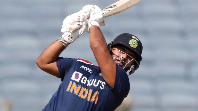 Rishabh Pant blitzed 78 to top-score for India as they posted 329 in Pune