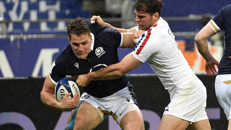 Scotland's Duhan van der Merwe in action during the match against France