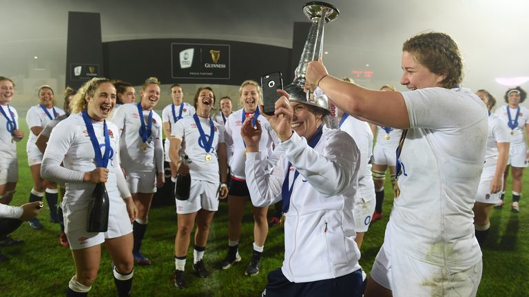 Sarah Hunter celebrates with her team-mates after winning last year's Six Nations