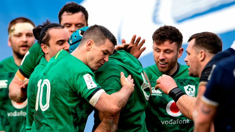 Tadhg Beirne, who has been one of the standout players in this year's Six Nations, is congratulated by teammates after scoring a try