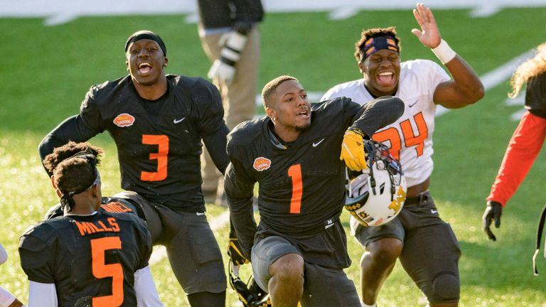 Bledsoe (1) leads the fun at the Senior Bowl (AP Photo/Matthew Hinton)