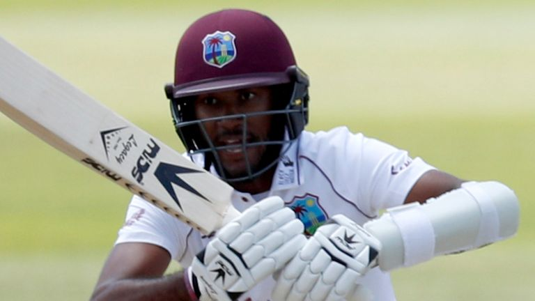 West Indies captain Kraigg Brathwaite ended the opening day of the second Test not out on 99