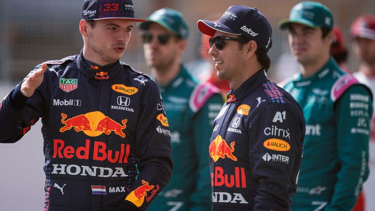 Max Verstappen with new Red Bull team-mate Sergio Perez, who will be in the car on Saturday