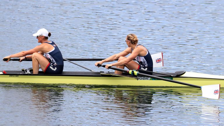 Glover and Stanning celebrate winning gold in the women's rowing pair final during the 2016 Olympics in Rio