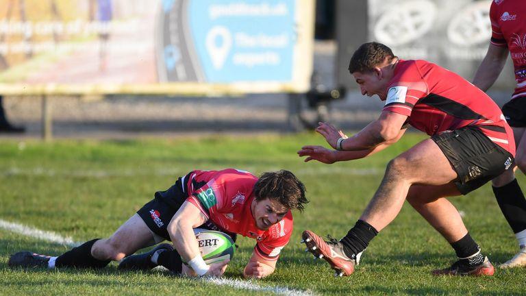 Cornish Pirates' Rhodri Davies scores the winning try during the  Championship match at Mennaye Field, Penzance