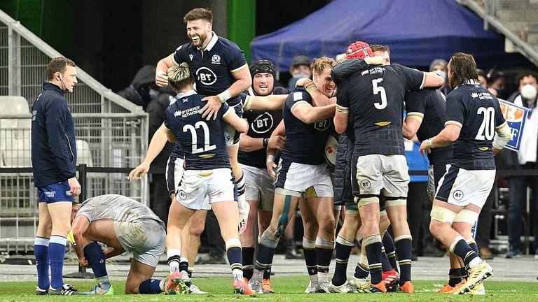 Scotland celebrate after Duhan van der Merwe scores the winning try