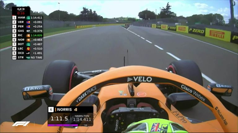 Lando Norris was close to taking his first top three in qualifying but his Imola qualifying lap exceeded track limits.
