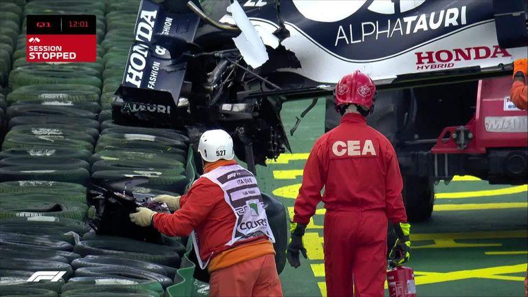Rookie AlphaTauri driver Yuki Tsunoda crashes at the chicane during Q1 in Imola.