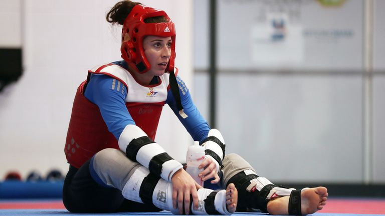 Walkden during a training session at the National Taekwondo Centre, Manchester