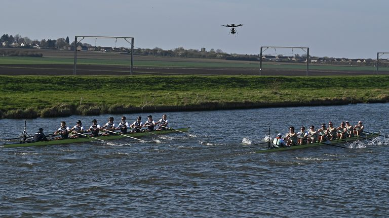 Oxford (left) and Cambridge (right) battled it out on the River Great Ouse