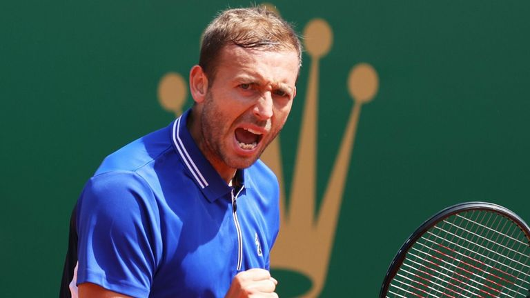 Dan Evans came out on top against David Goffin to reach the Monte Carlo Masters semi-finals