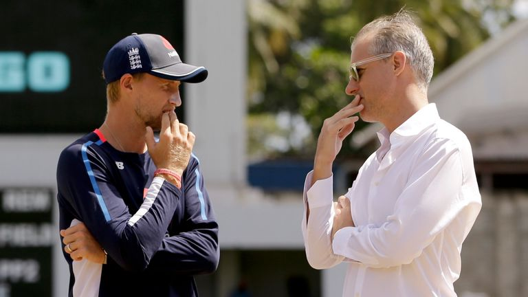 Smith in conversation with England Test captain Joe Root