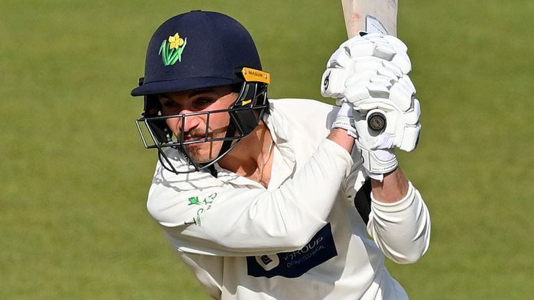 Glamorgan's Kiran Carlson scores through the off-side against Sussex