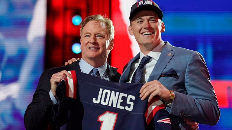 Mac Jones was the 15th pick by the New England Patriots during Thursday's first round (AP Photo/Tony Dejak)