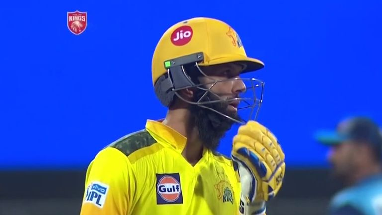 England's Moeen Ali struck seven fours and a six in his 46 from 31 balls as Chennai Super Kings beat Punjab Kings for their first win of the IPL season