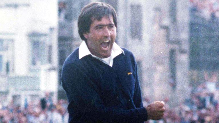 Seve Ballesteros celebrates after winning The Open at St Andrews in 1984