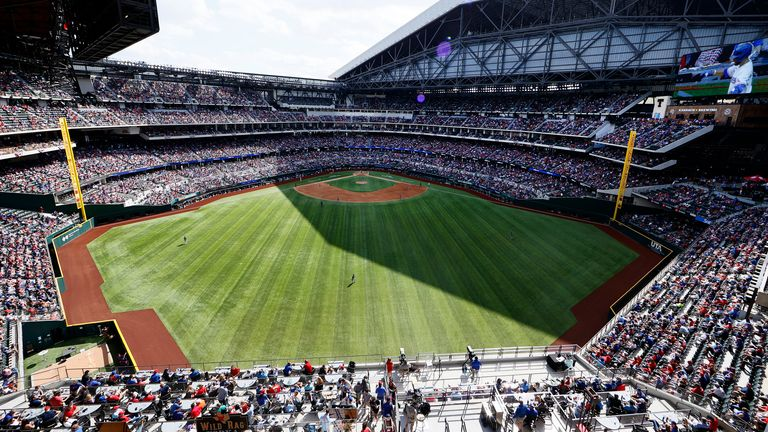 A view of Globe Life Field during the game between Texas Rangers and Toronto Blue Jays