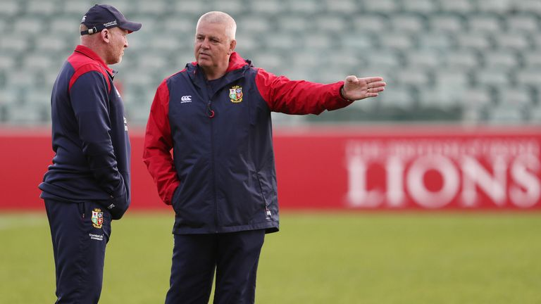 Neil Jenkins (left) with Warren Gatland during the 2017 Lions tour of New Zealand