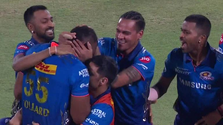 Kieron Pollard smashed eight sixes and six fours in his 87 not out from 34 balls as Mumbai Indians chased 219 to beat Chennai Super Kings in the IPL