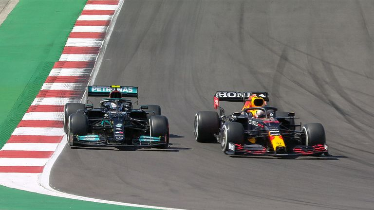 Valtteri Bottas pitted and emerges ahead of Max Verstappen, but the Red Bull gets ahead a few corners later!