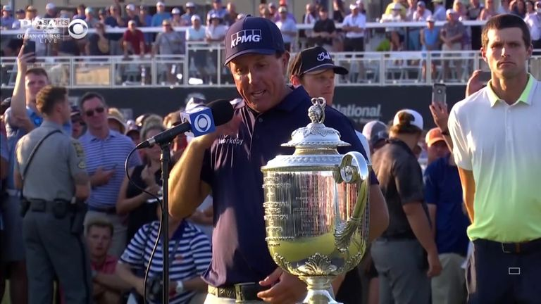 Mickelson discusses becoming the oldest winner in major history with a two-shot victory at the PGA Championship