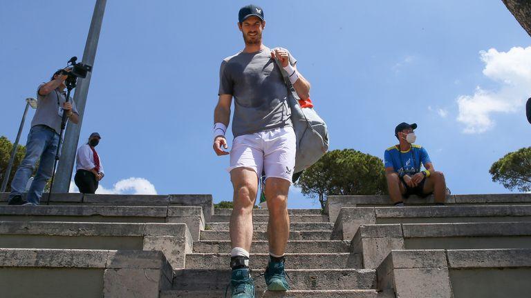 Murray has taken to the practice court with Diego Schwartzman and Novak Djokovic in Rome
