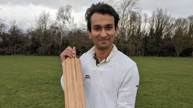 Dr Darshil Shah pictures with his bamboo cricket bat