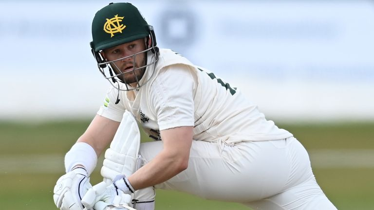 Ben Duckett scored an unbeaten 177 for Nottinghamshire and shared a stand of 205 with Lyndon James