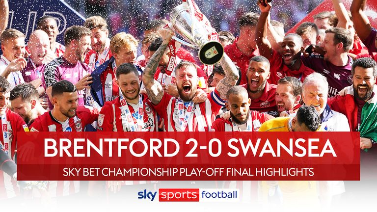 Highlights of the Championship playoff final between Brentford and Swansea