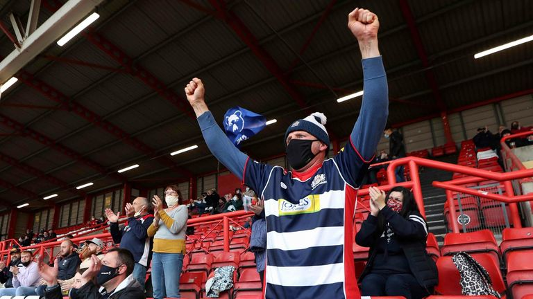 A Bristol Bears fan shows support in the stands before the Gallagher Premiership match at Ashton Gate