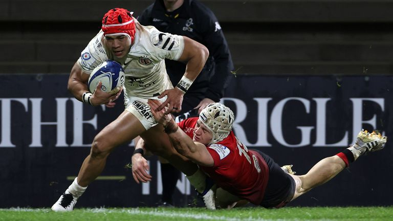 Toulouse's Cheslin Kolbe goes over for a try against Ulster