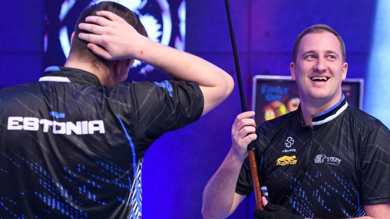 Estonia's Denis Grabe and Mark Magi celebrate their incredible victory against Great Britain A at the World Cup of Pool (photo courtesy of Taka Wu/Matchroom Multi Sport)