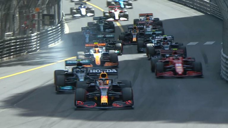 Max Verstappen is out in front after making the ideal start to the Monaco Grand Prix
