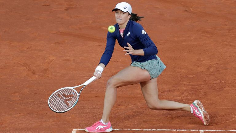 Iga Swiatek saved two match points before coming through in three sets