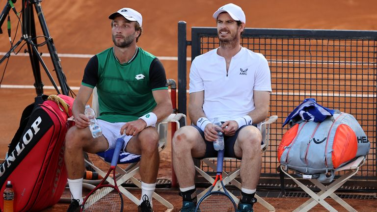 Liam Broady and Andy Murray (right) played in the men's doubles event in Rome earlier this week
