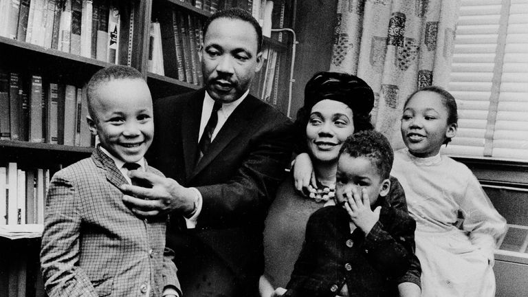 Dr. Martin Luther King Jr. and his wife, Coretta Scott King, with their children Martin Luther King III (left), Dexter and Yolanda
