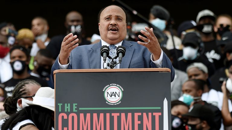 Martin Luther King III speaks at the Lincoln Memorial in Washington DC during the 'Commitment March: Get Your Knee Off Our Necks' in August last year