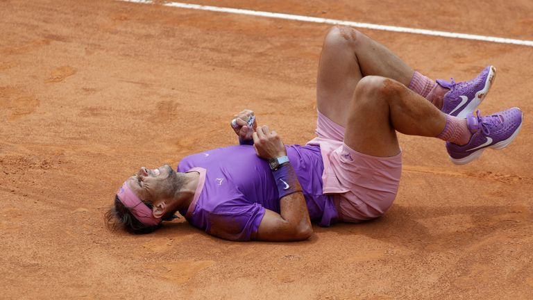 Nadal suffered a heavy fall in his match against Zverev