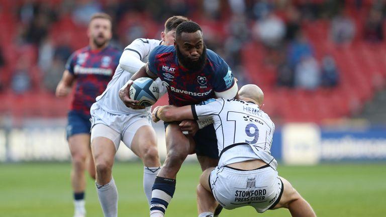 Semi Radradra is tackled by Gloucester Rugby's Willi Heinz