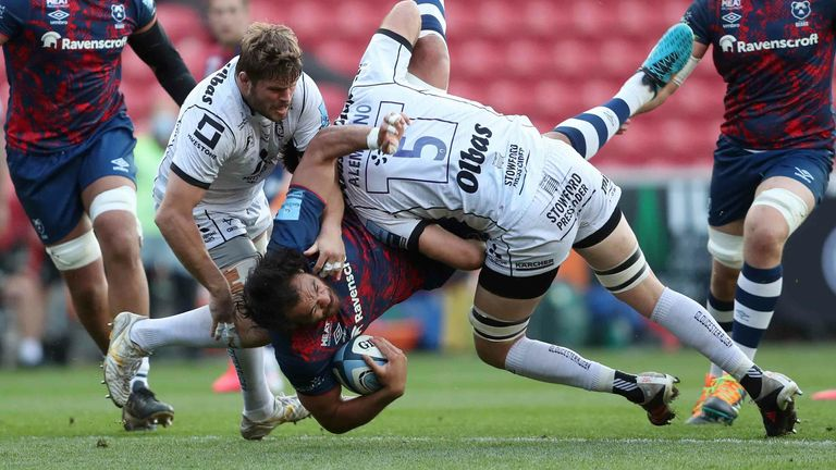 Bristol Bears' Steven Luatua  is tackled by Gloucester's Matias Alemanno resulting in a red card
