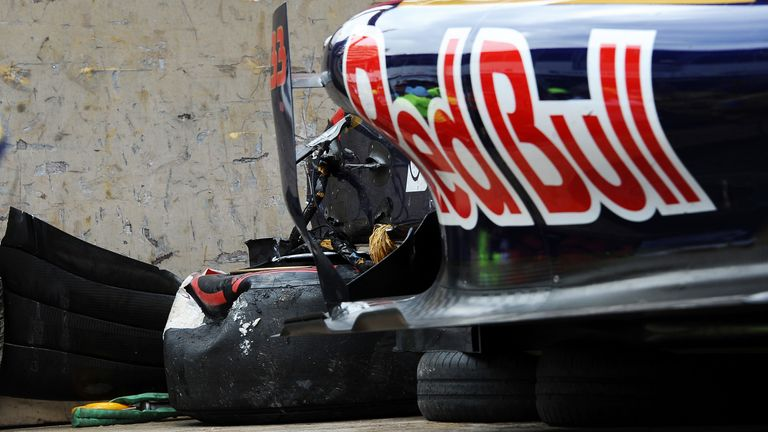 2015: The wreckage of Verstappen's Toro Rosso after crashing out of the race