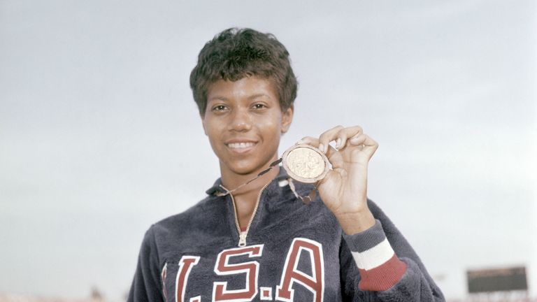 Triple US Olympic champion Wilma Rudolph, here at the 1960 Rome Olympics, was a role model for Black and female athletes